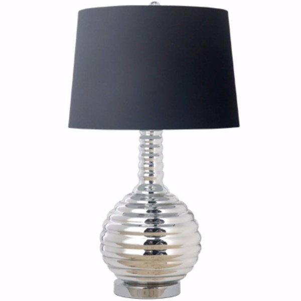 HomeRoots Black Poly Silver Glass Impeccably Groomed Table Lamp OCN-302564