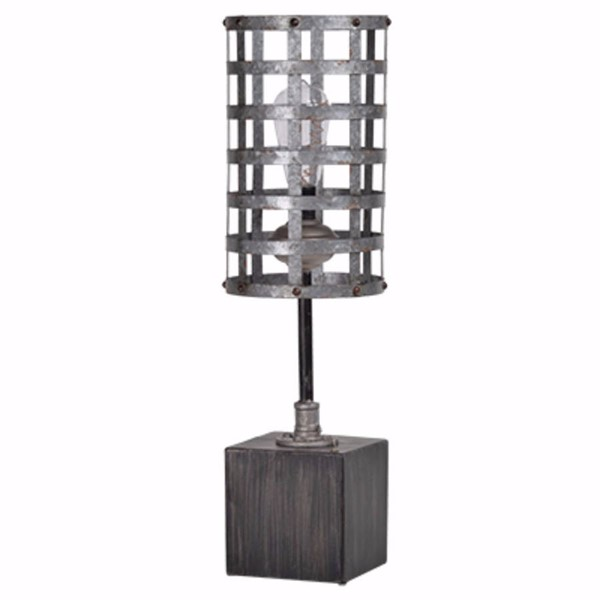 HomeRoots Grey Wood Iron Slick and Classy Cafe Lamp OCN-302608