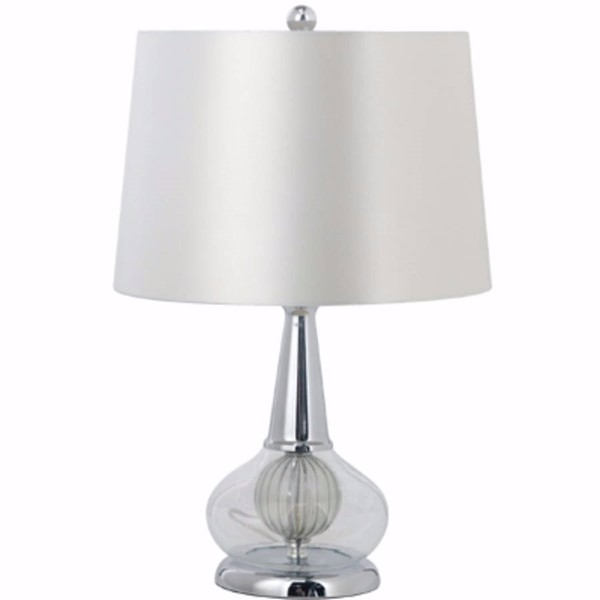 HomeRoots Clear Poly Glass Beautifully Designed Table Lamp with A Center Ball OCN-302664