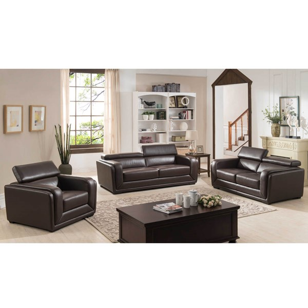 Home Roots Dark Brown Leather 3pc Living Room Set OCN-302871