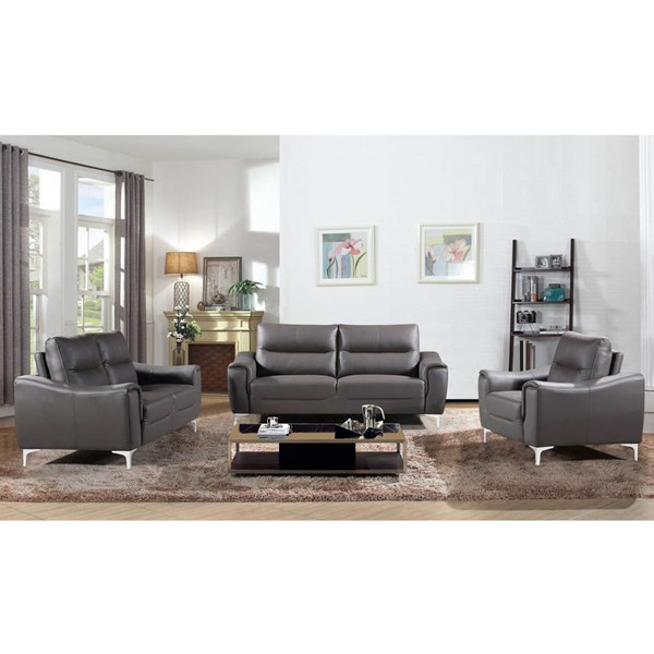 Home Roots Stationary Grey 3pc Living Room Set OCN-302881