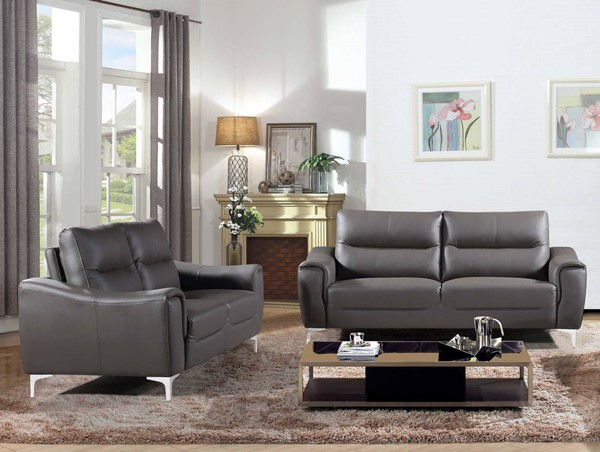 HomeRoots Modern Grey Leather Polyester Gray 2pc Sofa and Loveseat Set OCN-302882