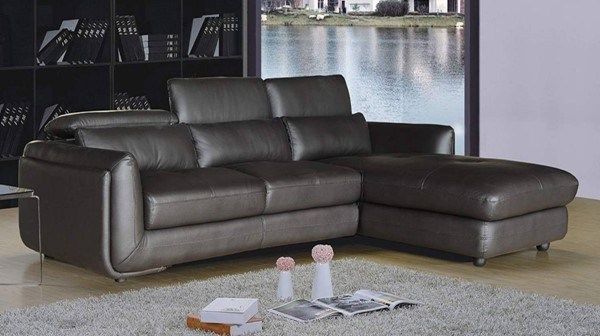HomeRoots Modern Brown Leather 2pc Sectional OCN-302886