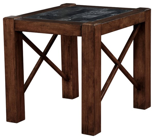 Homeroots Brown Cherry Wood Marble Top End Table OCN-302908