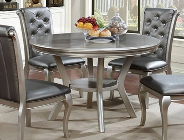 Homeroots Champagne Solid Wood Round Dining Table OCN-302921