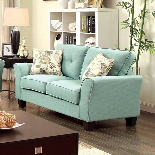 HomeRoots Transitional Blue Polyester Loveseat OCN-302929