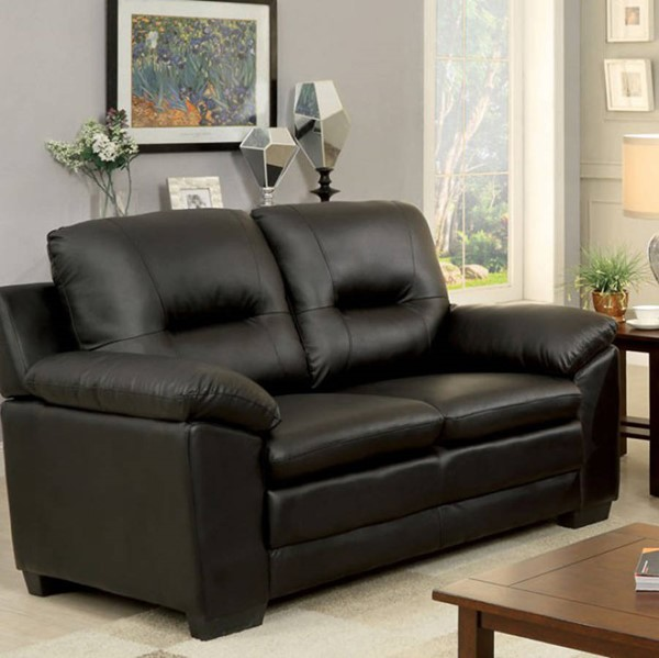 HomeRoots Contemporary Black Leather Cushion Back Loveseat OCN-302932