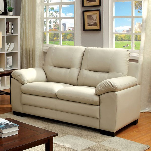 HomeRoots Contemporary Ivory Leather Cushion Back Loveseat OCN-302934