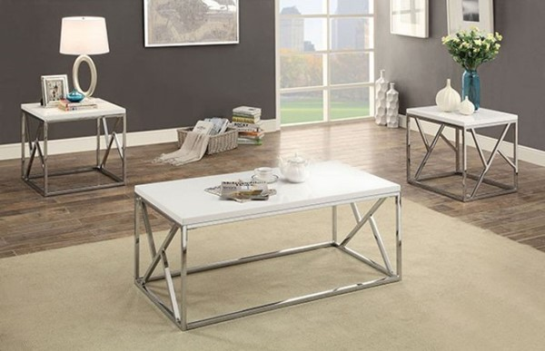 Homeroots White Metal 3pc Coffee Table Set OCN-302966