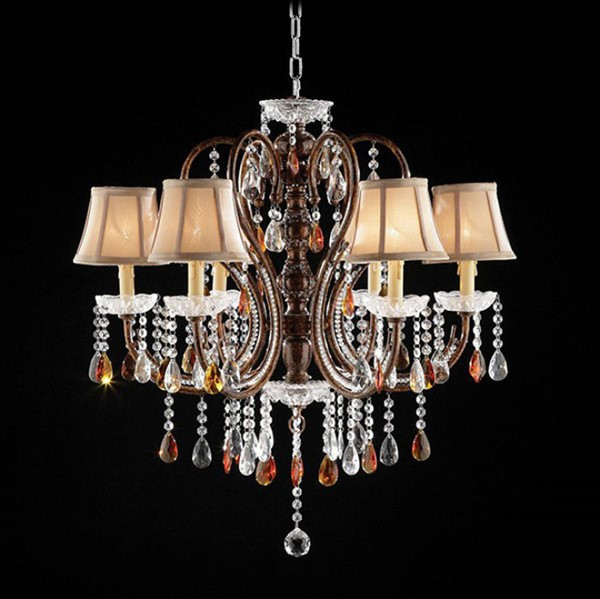 HomeRoots Gold Brown Crystal Polyresin Ceiling Lamp OCN-302976