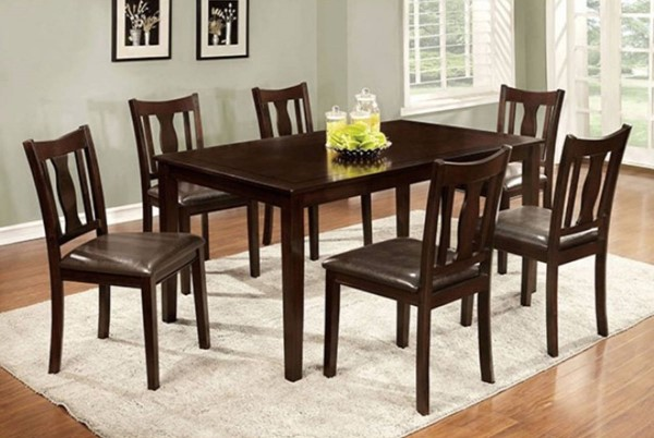 Homeroots Espresso Solid Wood PU Cushion 7pc Dining Set OCN-302990