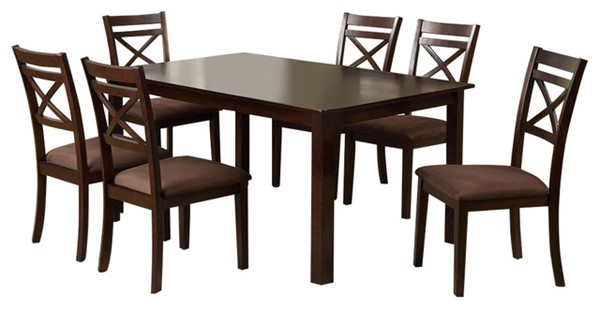 Homeroots Espresso Solid Wood Fabric Cushion 7pc Dining Table Set OCN-302992