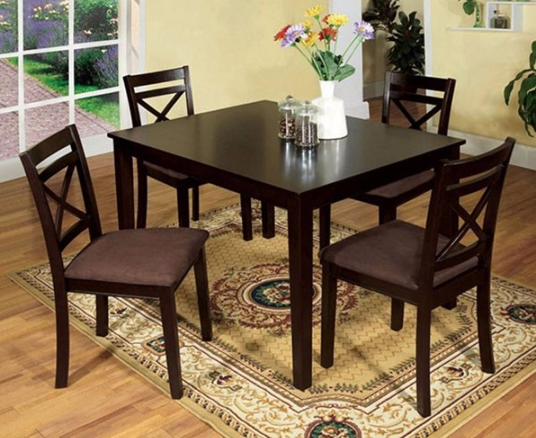 Homeroots Espresso Solid Wood Fabric Cushion 5pc Dining Table Set OCN-302993