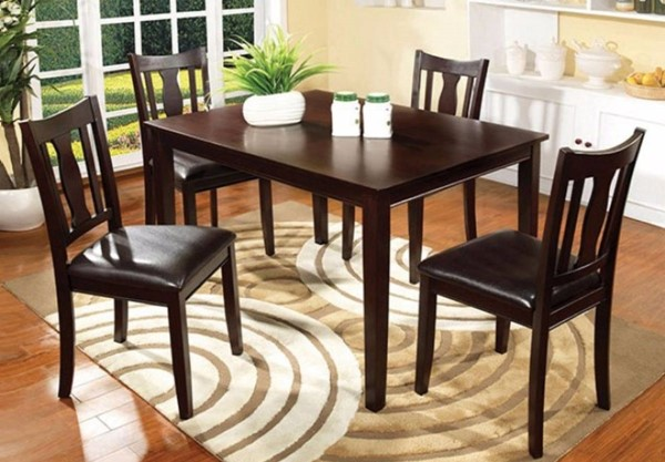 Homeroots Walnut Solid Wood PU Cushion 5pc Dining Table Set OCN-302994