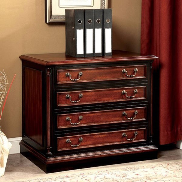 Homeroots Cherry Black Wood File Cabinet OCN-303010