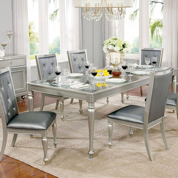 Homeroots Silver Gray Wood Glass Top Dining Table OCN-303063