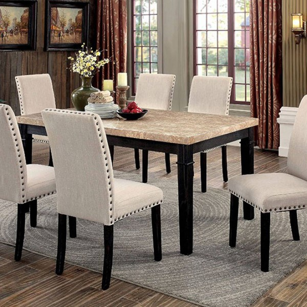Homeroots Black Wood Marble Top Dining Table OCN-303078