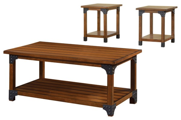 Homeroots Antique Oak Solid Wood 3pc Coffee Table Set OCN-303097