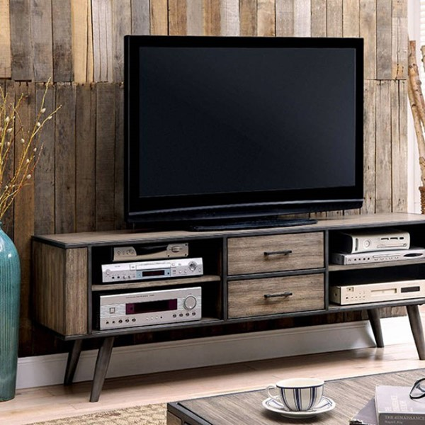 Homeroots Gray Solid Wood 72 Inch TV Console OCN-303106