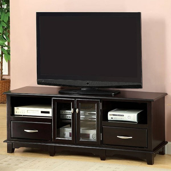 Homeroots Espresso Solid Wood Glass Top 63 Inch TV Console OCN-303110