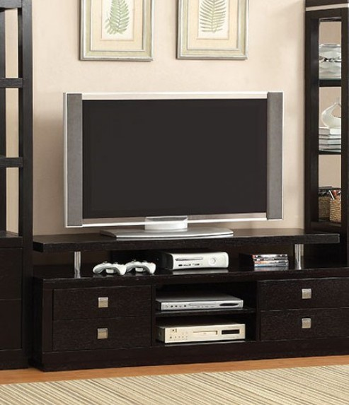 Homeroots Black Solid Wood 66 Inch TV Console OCN-303111