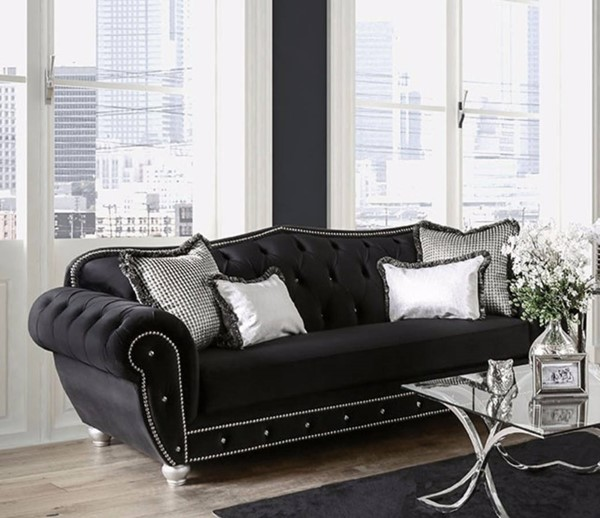 HomeRoots Traditional Black Fabric Regal Sophisticated Sofa OCN-303116