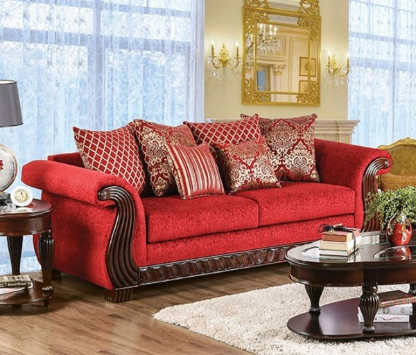 HomeRoots Traditional Ruby Red Fabric Howling Spacious Sofa OCN-303123