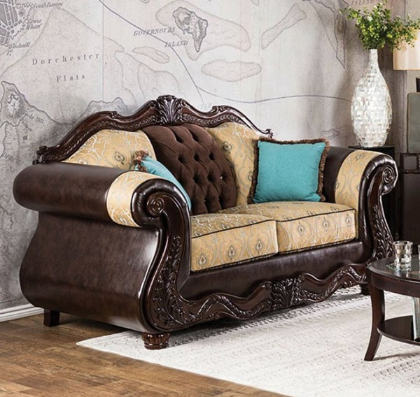 HomeRoots Traditional Beige Fabric Brown Leatherette Loveseat OCN-303129