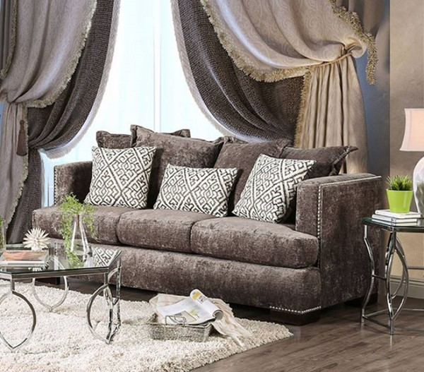 HomeRoots Transitional Brown Fabric Spacious Opulent Sofa OCN-303132