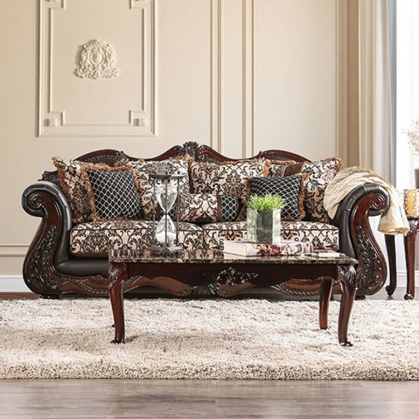 HomeRoots Traditional Brown Fabric Classy Sofa Brown OCN-303135