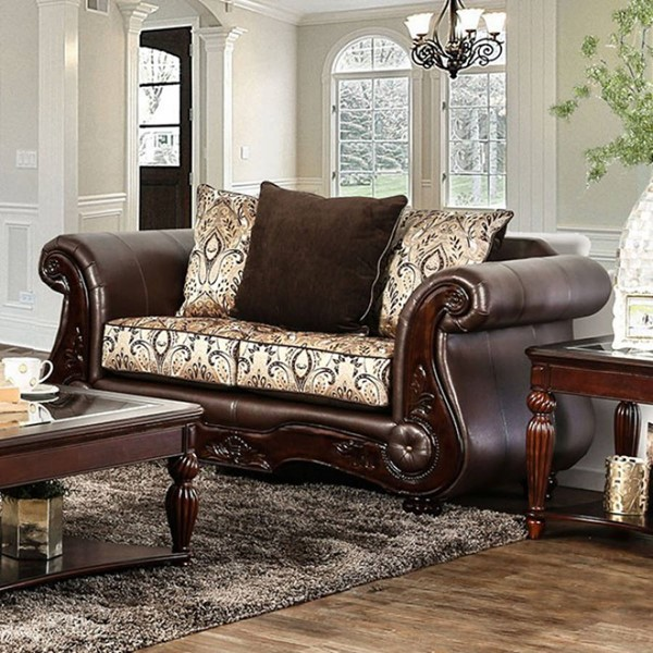 HomeRoots Traditional Brown Fabric Cushiony Loveseat OCN-303136