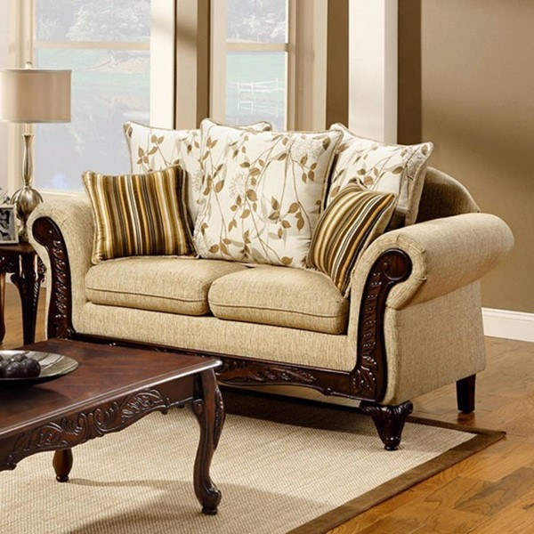 HomeRoots Traditional Ivory Polyester Loveseat OCN-303139