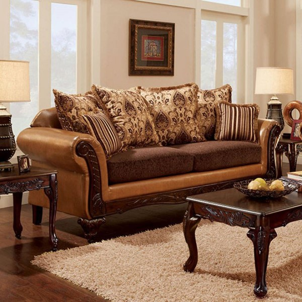 HomeRoots Traditional Camel Leatherette Brown Fabric Sofa OCN-303141
