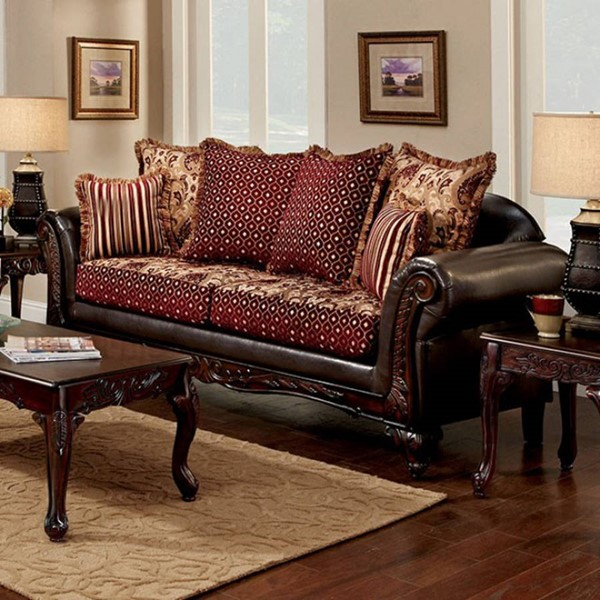 HomeRoots Traditional Brown Leatherette Fabric Sofa OCN-303142