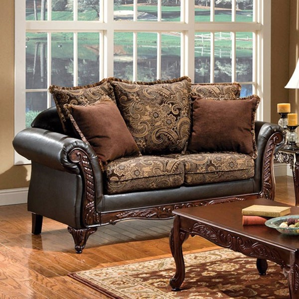 HomeRoots Brown Fabric Espresso Leatherette Grotesque Loveseat OCN-303148