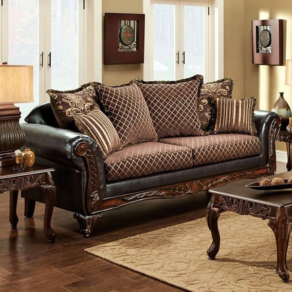 HomeRoots Brown Fabric Espresso Leatherette Spacious Opulent Sofa OCN-303151