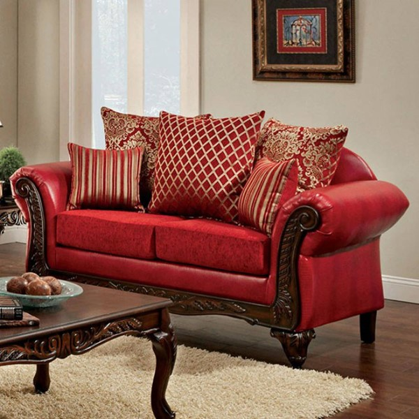 HomeRoots Red Fabric Leatherette Spacious Howling Loveseat OCN-303152