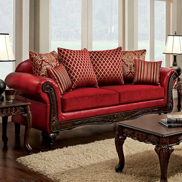 HomeRoots Red Fabric Leatherette Spacious Howling Sofa OCN-303153