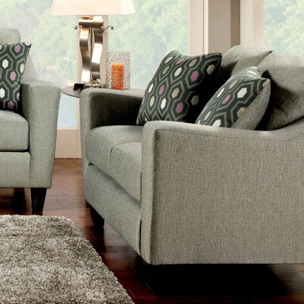 HomeRoots Contemporary Gray Fabric Snug Regal Loveseat OCN-303157