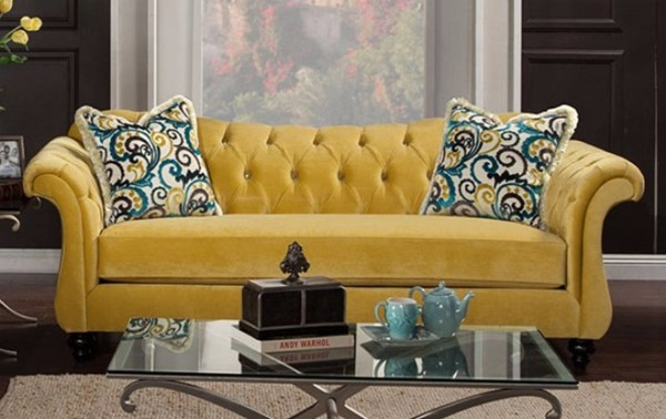 Homeroots Yellow Fabric Sofa with Pillows OCN-303173
