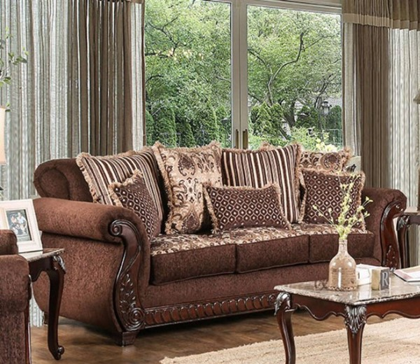 HomeRoots Traditional Brown Fabric Leatherette Sofa OCN-303249
