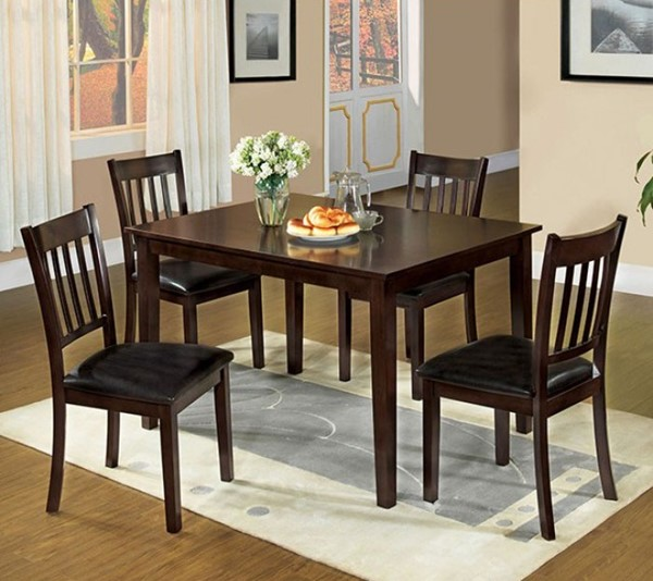 Homeroots Espresso Solid Wood Leatherette Cushion 5pc Dining Table Set OCN-303274