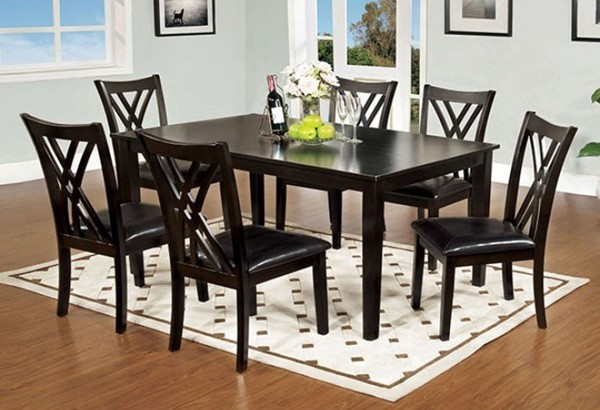 Homeroots Espresso Solid Wood 7pc Dining Set OCN-303277
