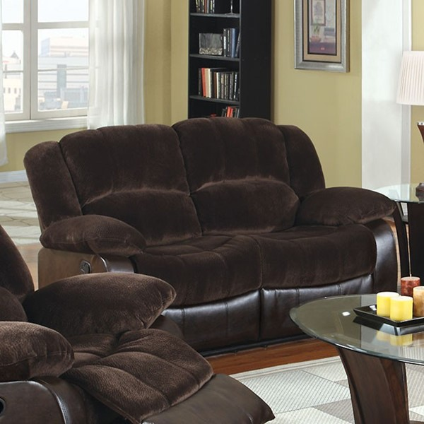 HomeRoots Brown Fabric Faux Leather Loveseat OCN-303279