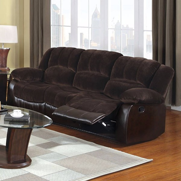 HomeRoots Brown Fabric Faux Leather Sofa OCN-303280
