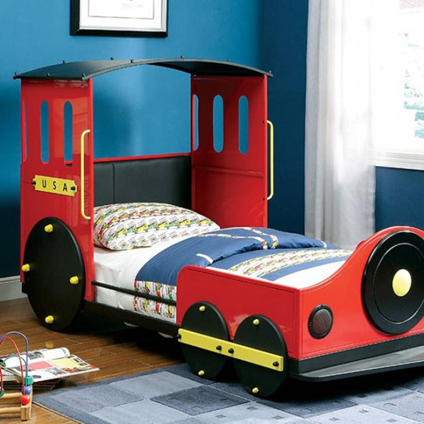 HomeRoots Red Leatherette Metal Retro Express Train Twin Bed OCN-303336
