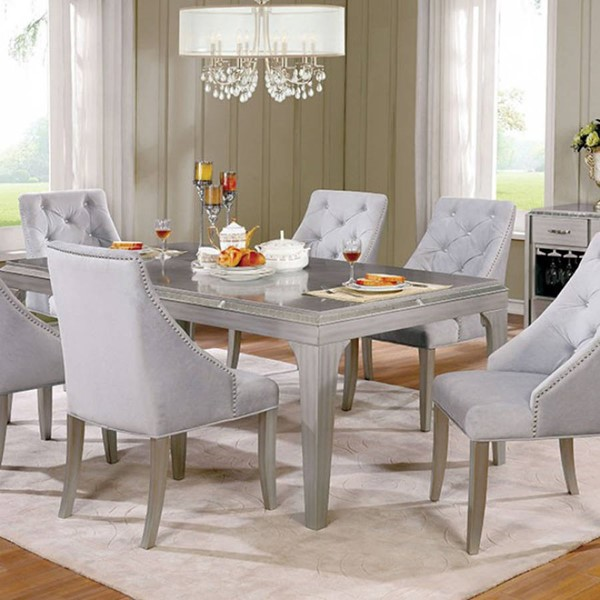 Homeroots Contemporary Silver Wood Tapered Legs Dining Table OCN-303345