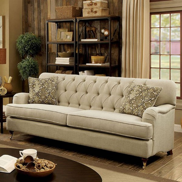 HomeRoots Transitional Beige Fabric Tufted Comfy Sofa OCN-303365