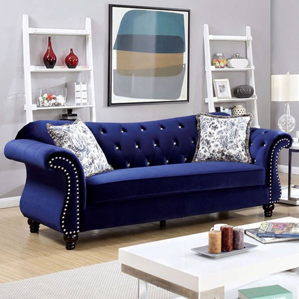 HomeRoots Traditional Blue Polyester Glamorous Sofas OCN-30336-SF-VAR