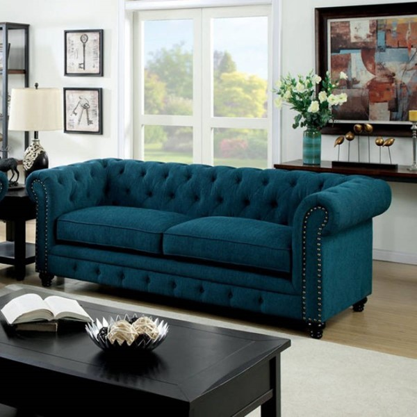 HomeRoots Traditional Blue Polyester Nailhead Trim Sofa OCN-303369